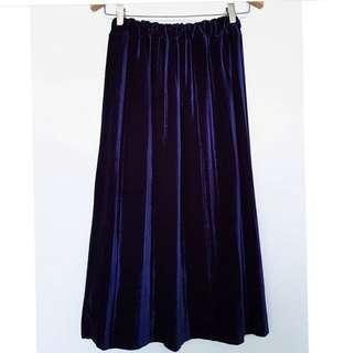 Blue Pleated Velvet Skirt
