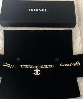 Chanel cc鑽logo 穿皮手鍊