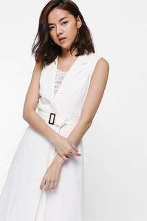 BNWT Love Bonito Yaeldria Belted Button Vest in White