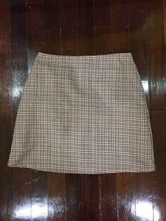 Vintage Plaid Skirt (Brown/ Beige)