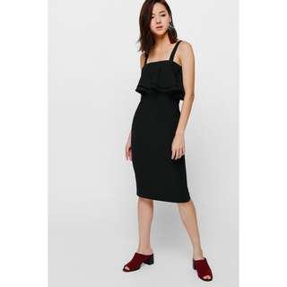 BNWT Love Bonito Olgea Layered Ruffle Dress Little Black Dress