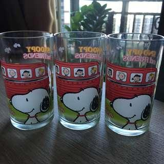 Snoopy glasses x 3