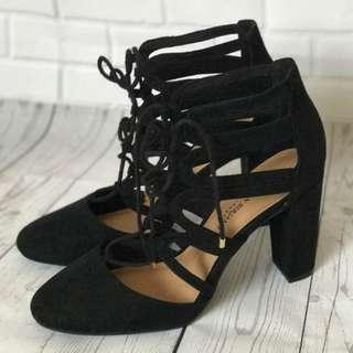 Black Block Heels with Lace