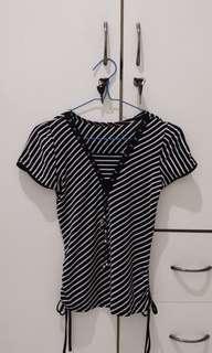 Atasan wanita stripes body fit