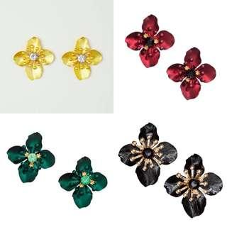 Metallic Flower Earrings