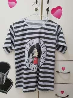 Kaos/T-shirt Mickey Mouse salur/ stripes asli