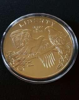 American Bald Eagle Gold Plated Coin/Token
