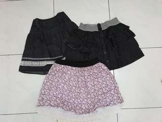 3 pcs mini skirts