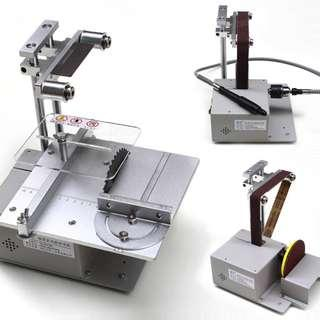 brand new available mini 4 in one multi tool workstation table saw , band sander, dremel rotary , drill full aluminium body for diy hobbyist