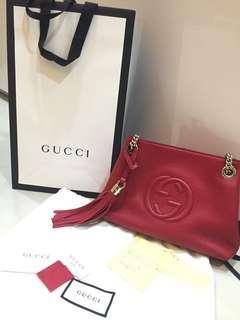 🚚 正品 Gucci Soho 小款斜背包 紅