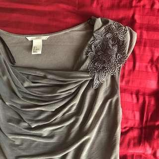 H&M Grey Elegant Top #cny888