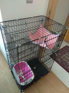 Perfectly new 3tier cat cage set with new cat litter and hammock!