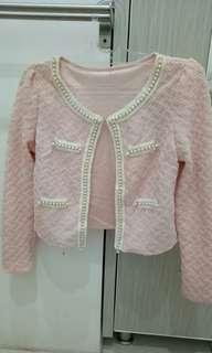 Cardigan Pink with pearl
