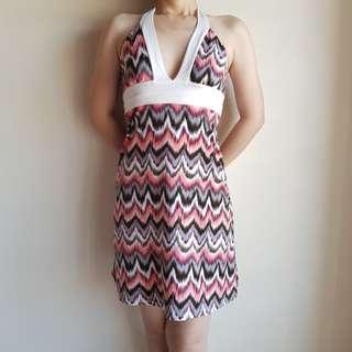 Crème Deep V Wave Pattern Dress #CNY888 #CNYRED