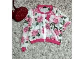 Floral blouse model bomber ( blouse bangkok / long sleeve blouse / blouse import / blouse cantik )