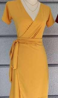 Mustard Yellow Wrap Office or Casual Dress
