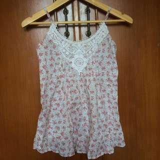 COLORBOX tank top broken white pink floral flowery (bunga2)