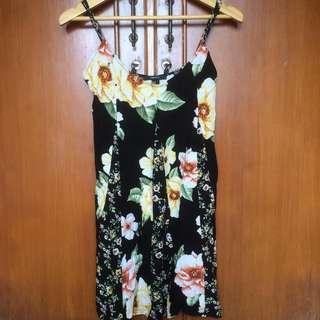 FOREVER 21 dress black floral flowery (hitam bunga2)