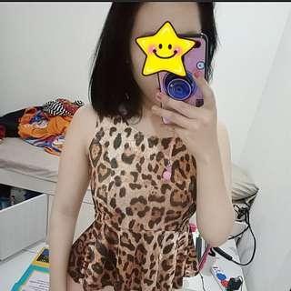 👍JATOH HARGA! Leopard Peplum Top