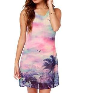 🚚 Colourful Scenery Sleeveless Dress