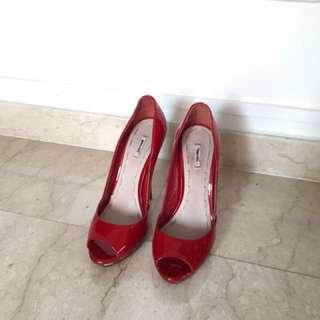 Miu Miu Whipstitch Red Patient Pump Sz 37
