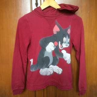 ZARA jaket sweater hoodie dark red (merah maroon)