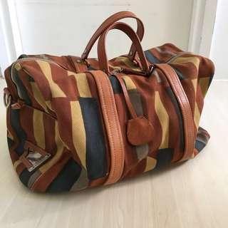 絕對真品!Miumiu 絕版復古vintage感 canvas 大側狽袋 Boston bag