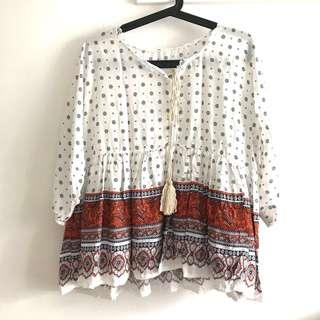 NEW Plus SIze Free Size (Fits L-XL) Peasant Tie Front Printed Peasant Loose Fit Blouse Top @sunwalker