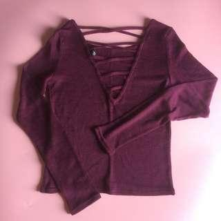 H&M stripe back top maroon #onlinesale