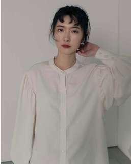 Leme studio 米白縮袖歐風無領襯衫