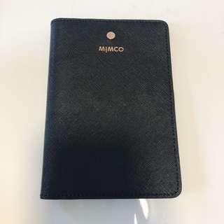 MIMCO PASSPORT HOLDER BLACK LEATHER