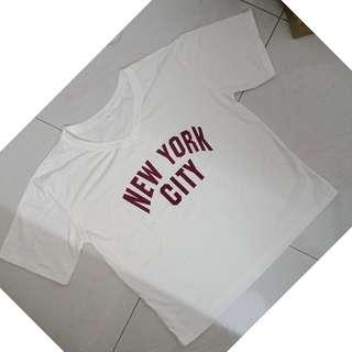 NEW! White shirt wit NY Wording printed (XL size)
