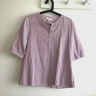 Erin size XL Violet Round Neck Striped Short Sleeve Shirt Blouse Top @sunwalker