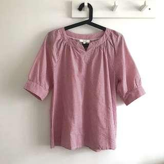 Erin size L Sweet Pink Striped Short Sleeve Shirt Blouse Top @sunwalker