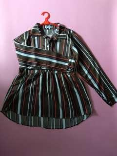 Mayoutfit army stripe blouse