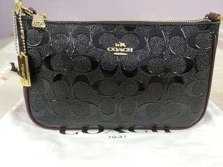 🆕Authentic Coach Top Handle Pouch in Signature (Black & Oxblood) SALE PRICE REDUCTION