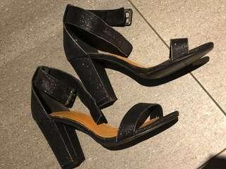 Rubi black glitter block heels
