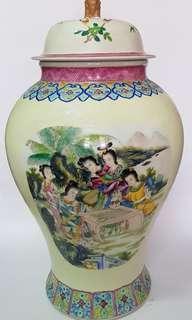 十仙女图陶瓷盖罐