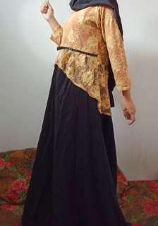 Dress brukat baju pesta muslim New