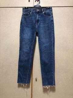 PRIMARK BLUE HIGH WAISTED STRAIGHT CUT JEANS