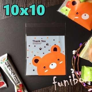 *funibox*【10X10中號100入】可愛小熊Thankyou透明opp自黏袋/餅乾烘焙飾品手工皂/婚禮小物