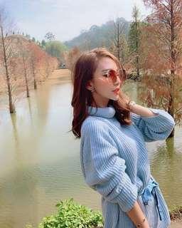 🚚 藍色針織高領長版洋裝毛衣