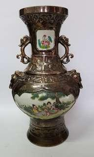 Chinese antique porcelain vase with metal coating
