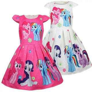 *FREE DELIVERY to WM only / Ready stock* Kids pony dress each as shown in design /color pink, white. Free delivery is applied for this item.