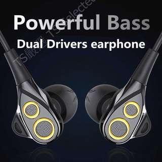🚚 新款 雙動圈 耳機 重低音 中高音 通用 HIFI 高音質 動鐵 三單元 單體 入耳式 線控 圈鐵式 安卓 非 SONY iphone 三星 OPPO 小米 JBL 鐵三角 beats 聲海 dual drivers earphones