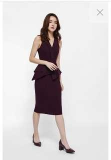 LOVE BONITO BNWT TRINX ASYMM PEPLUM MIDI DRESS IN XS