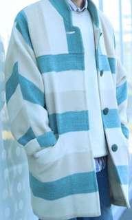 古著 義大利 綠白條紋大衣
