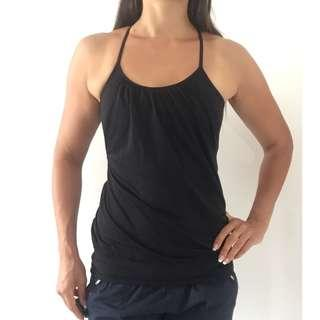 LULULEMON Black Relaxed Fit Activewear Tank Built in Sports Crop Sz AU 6 US 2