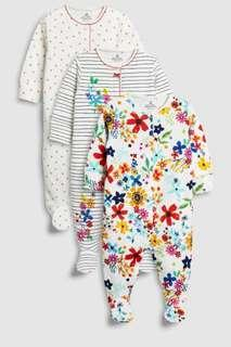 🌸🌸 3 pack of sleepsuit 💯% cotton ORIGINAL NEXT UK
