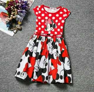*FREE DELIVERY to West Malaysia only / Ready stock* Kids minnie mouse dress each as shown in design /color red polka. Free delivery is applied for this item.